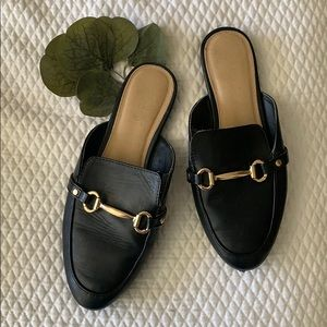 Faux Leather Mules w Gold Buckle